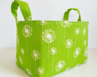 Storage Basket Fabric Organizer in Dandelion Chartreuse Green/White - Gift Basket - Hostess Gift