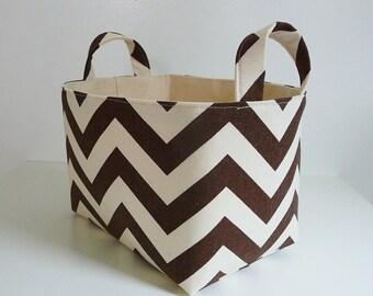 Storage Basket Fabric Organizer in Zig Zag Village Brown and Natural Chevron with Handles - Gift Basket - Choose Size