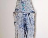 Girls Acid Wash Charlotte Hornets Overalls Size Small Deadstock