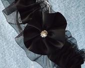 Black Wedding Garter - Black Veil Bride - Black Garter Belt - Black Satin - One  Size & Plus Size