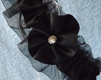 Black Wedding Garter Belt - Flower - One  Size and Plus Size - Jaretelle - Jartiere
