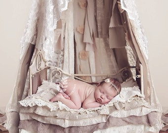Newborn Shabby Bed Canopy Photography Prop Linen And Lace