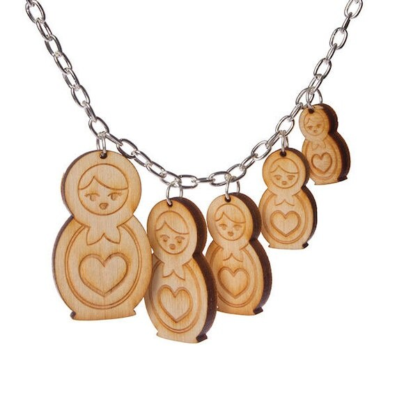 Matryoshka charm necklace laser cut wood by sugarandvicedesigns