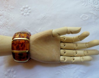 AMBER Beautiful FAUX AMBER Expandable Bracelet ~ GorgeousTortoise Shell Classic Stretch ~ 1960's