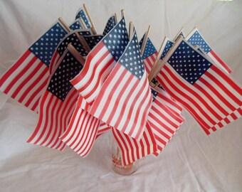 Vintage American Patriotic Flag Decor  ~*~ Happy Birthday America ~*~ AMERICA ~*~ New Old Stock ~*~ Set of 24 Flags ~*~ USA