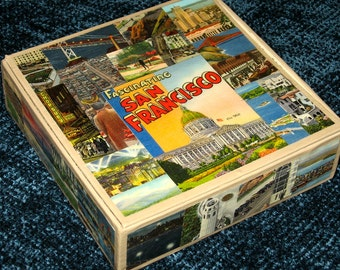 SAN FRANCISCO CA travel postcard decoupage cigar box