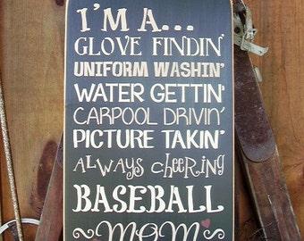 Wood Sign,  I'm a Baseball Mom,  Handmade, Sports, Word Art