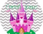 Custom Personalized Princess Castle with name and age Melamine Plate Chevron background