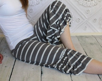 Chrome Gray and Heather Ash Striped  Willow Ruffle Capri  Pants by GreenStyle in Teen and Women's Sizes
