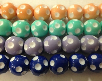 16mm acrylic polka dot, dotted, spot beads, gumball
