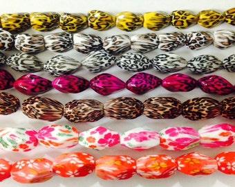 15x27mmanimal print acrylic nuggets beads ,flower, cheetah, leopard, zebra prints