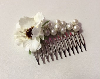 Ivory Glass Pearl, Crystal & Ivory Cherry Blossom Floral Hair Comb