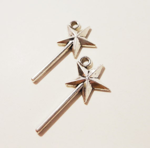 Magic Wand Charms 25x13mm Antique Silver Metal Fairytale Fairy Wand Charms, Star Wand Charm Pendant Jewelry Making Jewelry Findings 10pcs