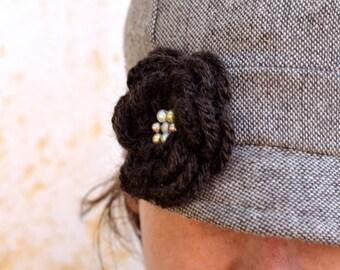 Merino flower pin brooch, shining brown crochet flower