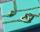 Entwined hearts bracelet, gold heart bracelet,.infinity hearts bracelet.