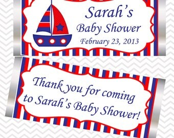 Nautical Blue Red  - Personalized Candy Bar Wrapper