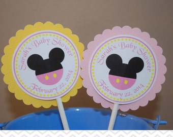 Pink Minnie Mouse Head Cupcake Toppers - Set of 12 Personalized Birthday Baby Shower Decorations