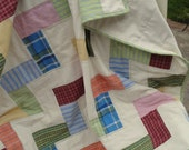 Baby quilt made from up cycled shirting fabric