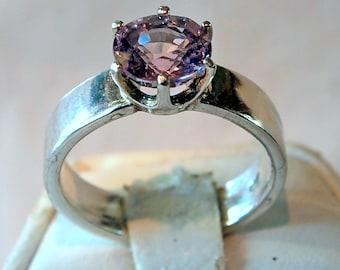 Spinel Ring, 1.39 Carat, Lavendar Pink, 925 Sterling Silver Ring, Size 7