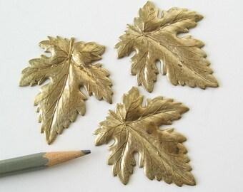 "2 large brass leaves leaf findings 2"""