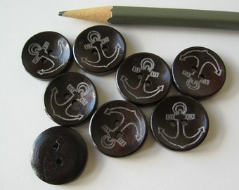 12 wood anchor buttons 20mm or 3/4""
