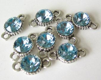 Swarovski aquamarine aqua blue rhinestone crystal 2 ring connector link 6mm 4pcs