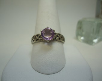 Round Cut Amethyst Ring in Sterling Silver   #1029