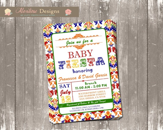 mexican fiesta baby shower invite colorful damask digital file
