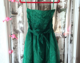 Emerald green strapless part dress