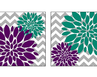 Flower Bursts with Chevron Zig Zags. 2 12x12 Canvas Prints