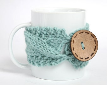 Cozy Coffee cup, Knitted mug cozy, tea cup cozy,  coffee sleeve, mint, warmer