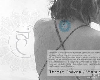 Hand Draw Throat Chakra / Vishuddha Symbol Mandala Tattoo Sticker