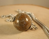 Long Necklace with Brown Ceramic Bead