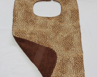 Terrycloth Adult Bib/Clothing Protector - Reversible - Unisex Adult Bib - Terry Cloth/Cotton -  Leopard Print - Brown