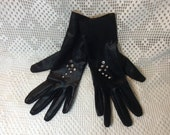 Vintage Cornelia James Evening Gloves, Black with Rhinestones, Made in England, Stretch Nylon