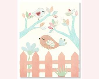 Baby Girl Nursery Prints, Art, Pastel Nursery, Birds, Nursery Wall, Pink And Blue, French, Aqua, Peach, Blush, Kids Art, Girl Nursery Decor