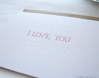 Letterpress Valentine's Day Card - I Love You