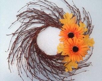 """13"""" Sunflower Birch Wreath"""