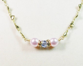 Heart Chain Necklace with Swarovski Crystals and Pearls, Pastel Heart Necklace, Pearl and Crystal Necklace