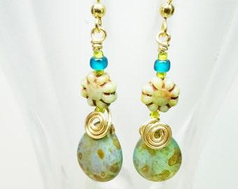 Wire Wrapped Dangle Earrings, Czech Glass Dangle Earring, Czech Tear Drop Earrings, Turquiose Drop Earrings