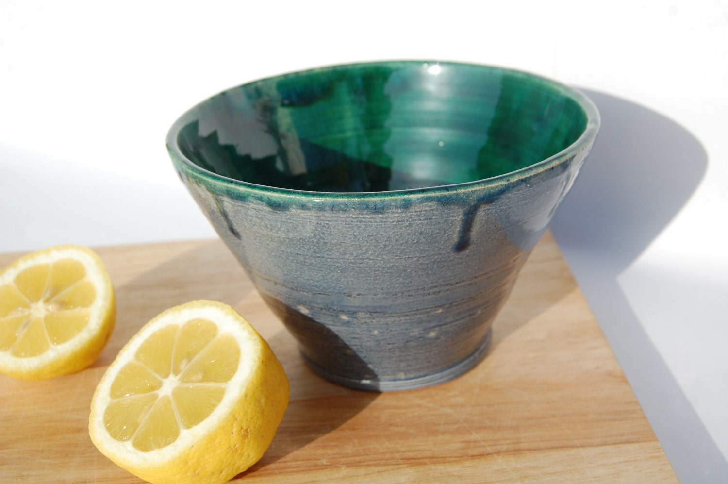 Teal and Blue Pottery Bowl made in UK, Useful in the Home or for Outdoor Eating, House warming Gift