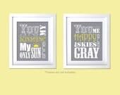 You Are My Sunshine, You Make Me Happy 2 PC set Baby Shower gift nursery prints Gray Yellow Decor Kids room wall decor