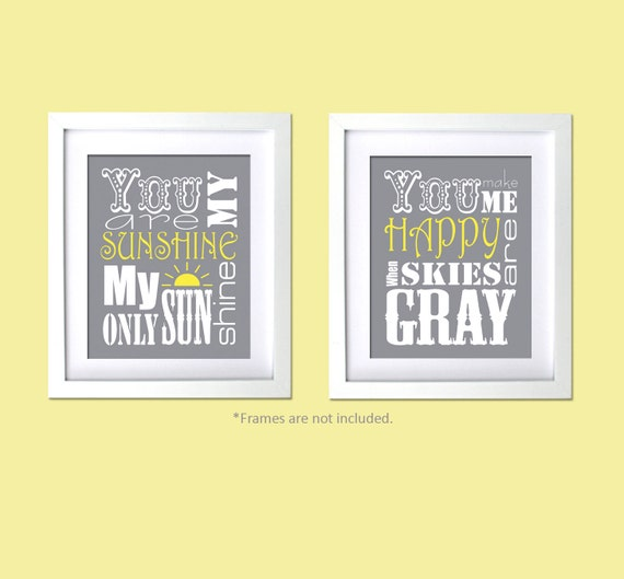 You Are My Sunshine, You Make Me Happy 2 PC set Baby Shower gift nursery prints Gray Yellow Decor Kids room wall decor
