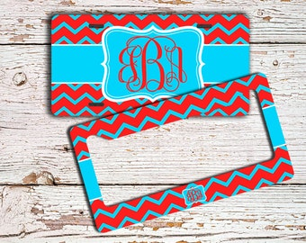 Monogrammed chevron car tag monogram - Dark coral red aqua blue - Personalized license plate or frame - Bicycle license plate bike (9729)