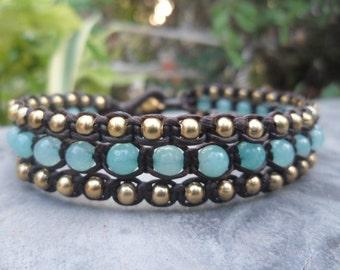 Triple Line Brass Blue  Bracelet