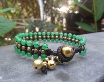 Triple Jade  Brass  Bracelet