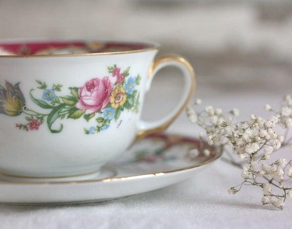 vintage czechoslovakian cup and saucer epiag bone china dainty