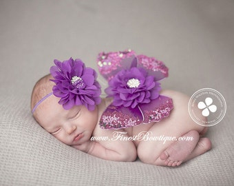 Purple BABY WINGS and/or HEADBAND - Photo Prop .. Baby Girl Headbands .. Angel Wings .. Baby Bow Headband .. Newborn Headband
