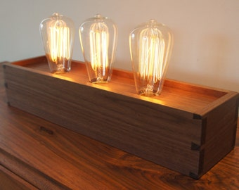 Edison Lamp with Dovetailed Walnut Box - Made to Order