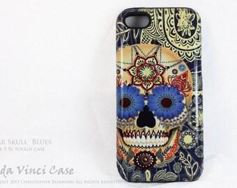 Skull iPhone 5s SE Case - Sugar Skull Blues - Artistic iPhone SE TOUGH Case With Dia De Los Muertos Artwork